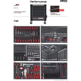 Wózek narzędziowy 8 szuflad z wyposażeniem 354 elementy SONIC EQUIPMENT