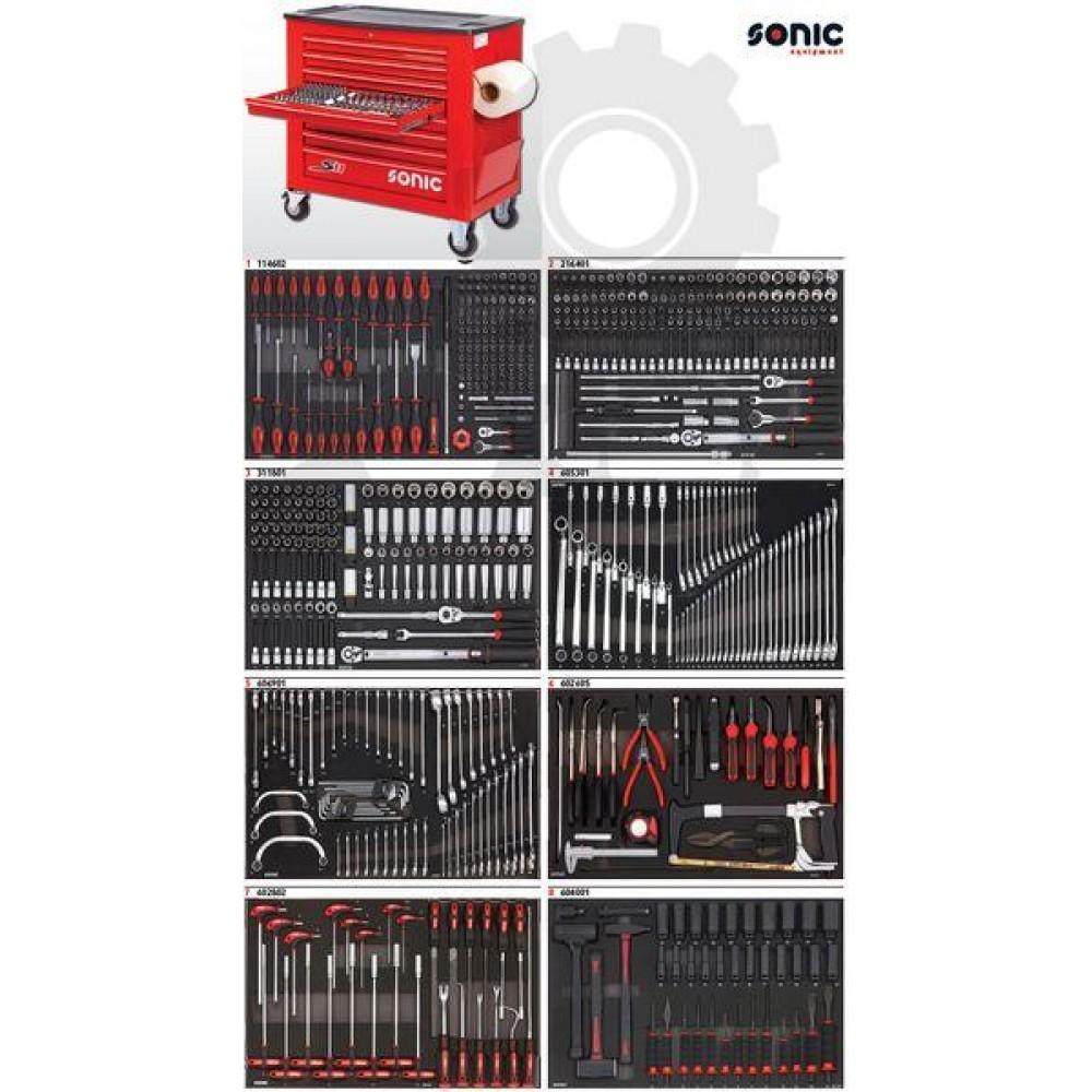 Wózek narzędziowy 8 szuflad z wyposażeniem 644 elementów SONIC EQUIPMENT