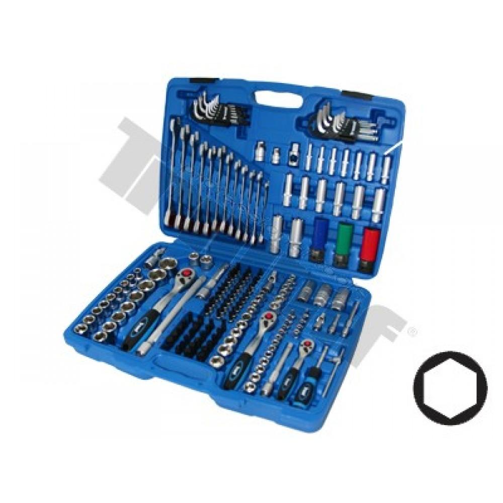 Klucze nasadowe zestaw 1/4, 3/8 i 1/2, 176 częściowy, nasadki 6kątne klucze z grzechotka 8-19mm TRIUMF PROFESSIONAL