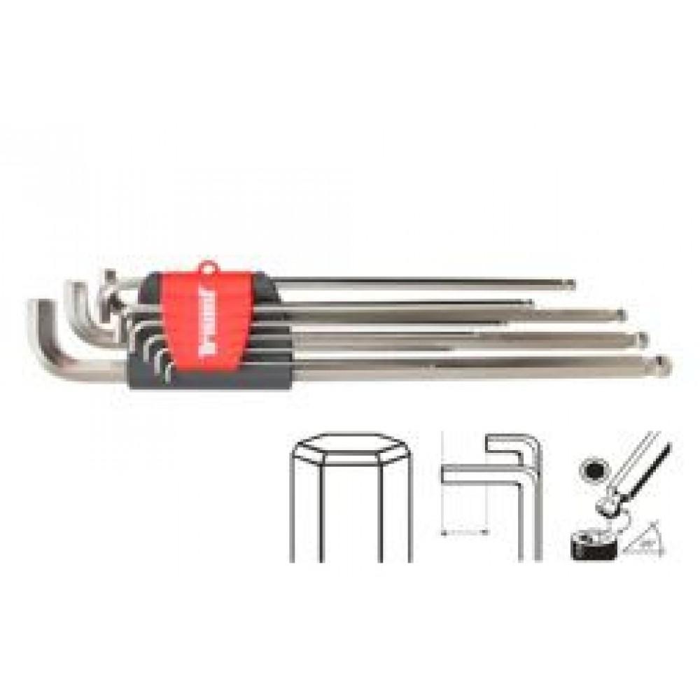 Zestaw kluczy chromowanych inbus 1,5 - 10mm, bardzo krótkie ramię, długie z kulką, 9-cz
