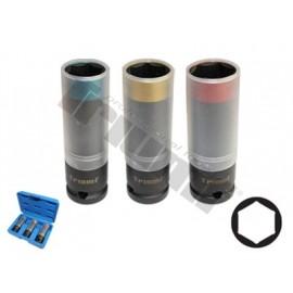 Zestaw nasadek 17-19-21 mm z pierścieniem zabezpieczającym, 3-częściowy