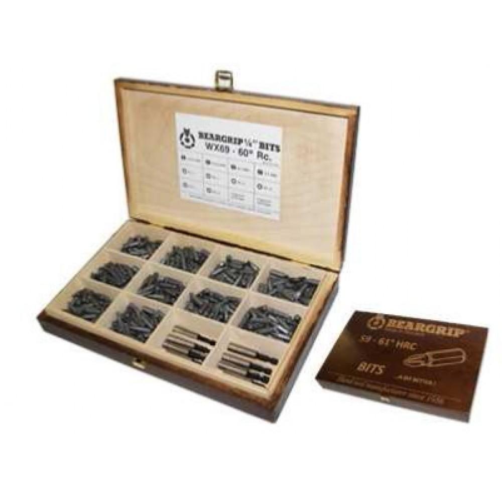 Bity w walizce drewnianej seria 500, 510 szt. BEARGRIP