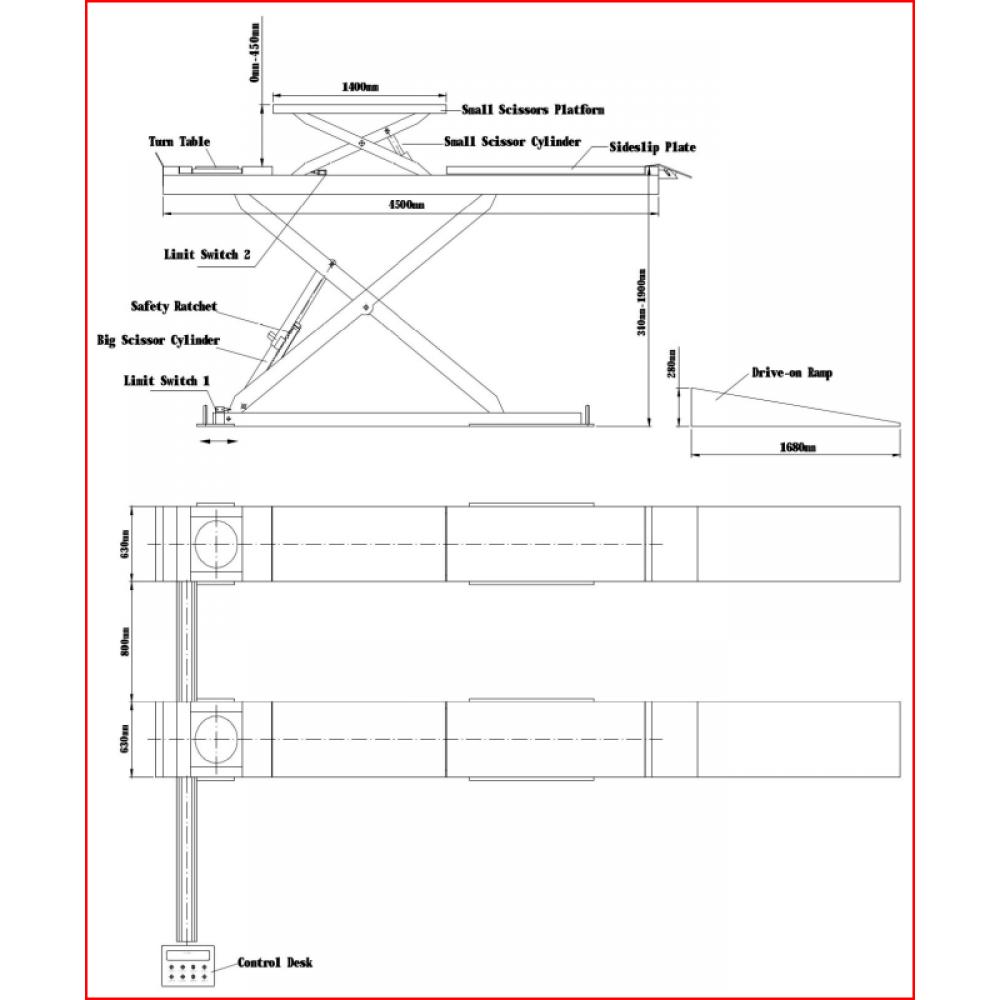 Podnośnik nożycowy TLT-830 WA LAUNCH