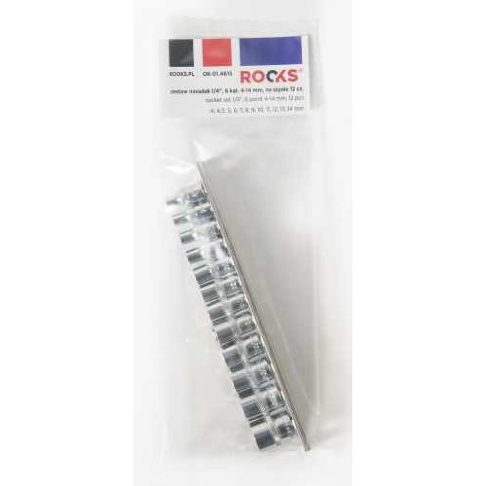 Zestaw nasadek 1/2' 10-27mm, na szynie, 16 cześci ROOKS