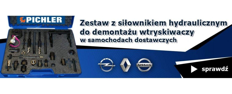 Ściągacz wtryskiwaczy z siłownikiem 12 T Renault, Opel, Nissan 2.0 i 2.3 M9R i M9T, 34 części PICHLER